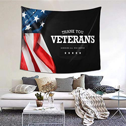 KOUSHANAIER Thank You Veterans Tapestry American Flag Military Soldiers Army Tapestry Wall Hanging USA Flag Patriotic Tapestries Wall Art for Bedroom Living Room Dorm Home Decor (60''W x 51''H)