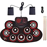 JLL Portable Electric Drum Set,Foldable Roll Up Electronic Drum Set Pad for Adults Kids Beginner Teens with Two Sticks Two Foot Pedals