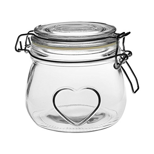 Bote de Cocina con Cierre hermético de Clip - Diseño de corazón - Cristal - 500ml