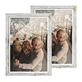 Capcillin 12x18 Picture Frame Wood Pattern Distressed White Poster Frame Set of 2, Wall Mounting,Plexiglass,Great for Prints, Mural,and Art(CP001-MD12x18RW)