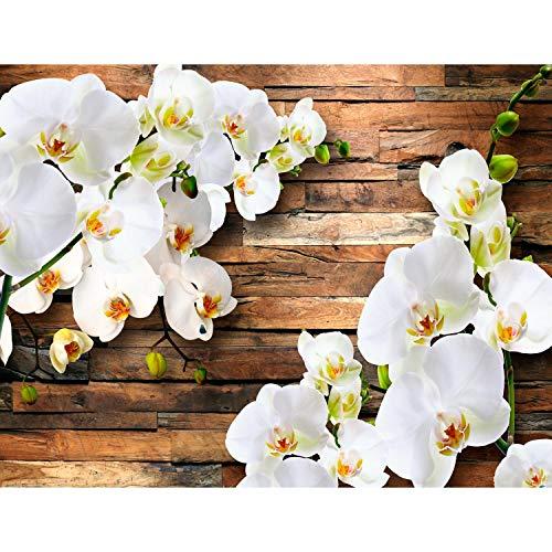 Runa Art Fototapete 3D Orchidee Holz Modern Vlies Wohnzimmer Schlafzimmer Flur - made in Germany - Weiss 9057010a