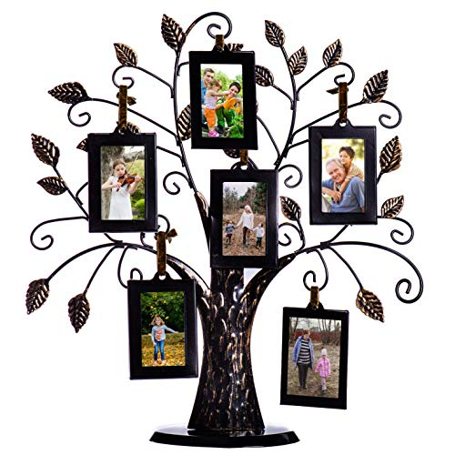 Klikel Family Tree Picture Frame Stand with 6 Hanging Photo Picture Frames - Medium Metal Tree 12 X 11-6 Ornamental 2x3 Frames