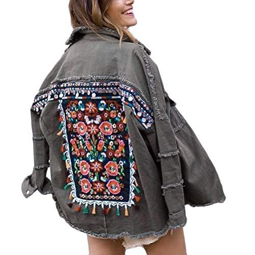 Minetom Damen Jeansjacke Übergangsjacke Bestickt Muster Leichte Jacke Denim Casual Mädchen Gewaschene Jeans Denim Jacket Oberbekleidung (36, A Grau)