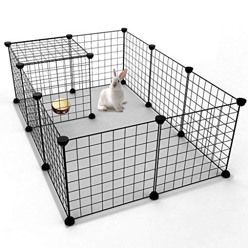 JYYG Small Pet Pen Bunny Cage Dogs Playpen Indoor Out Door Animal Fence Puppy Guinea Pigs, Dwarf Rabbits PET-F (12 Panels, Black)