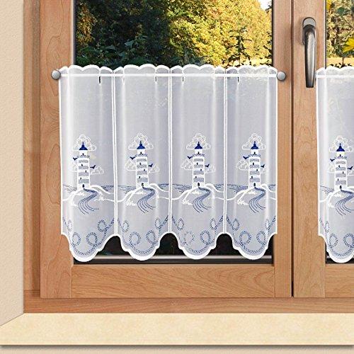 SeGaTeX home fashion Maritime Scheibengardine Leuchtturm Badgardine aus Echter Plauener Spitze blau-weiß 40 x 80 cm