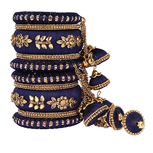 Efulgenz Indisches Armreif-Set CZ Kristall Kundan Hochzeit Braut Seide Gewinde Armreif Armbänder Schmuck für Frauen Mädchen (Set von 10)