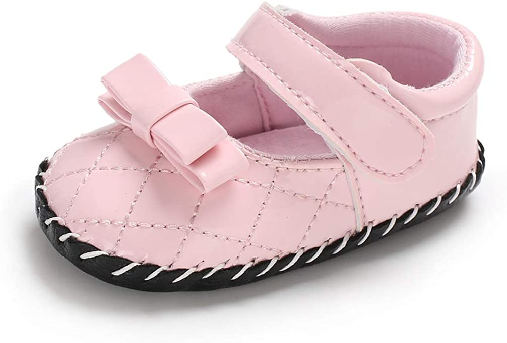 ACAREU Infant Toddler Baby Girls Sandals Solid Color Stitched Princess Shoes PU Leather No-Slip First Walkers Shoes