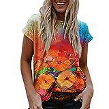 5665 T-Shirts Damen, Blusen Tops Sweatshirt Pullover Langarmshirts Frühjahr Sommer Beste Freunde Pullover Hoodies für Frauen mit Motiv Mode Casual Plus Size Scenic Flowers Drucken Rundhals-T-Shirt
