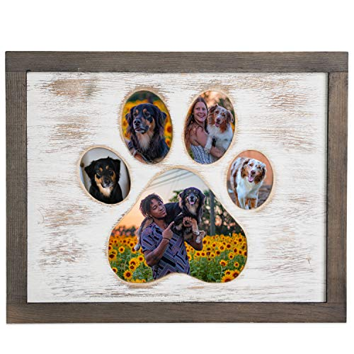 Dog Picture Frame With Paw Print Shape - Wooden Dog Photo Frame Gift For Pet Owners Or Memorial Keepsake For Dogs That Passed - Holds Multiple Pictures Of Your Favorite Friend