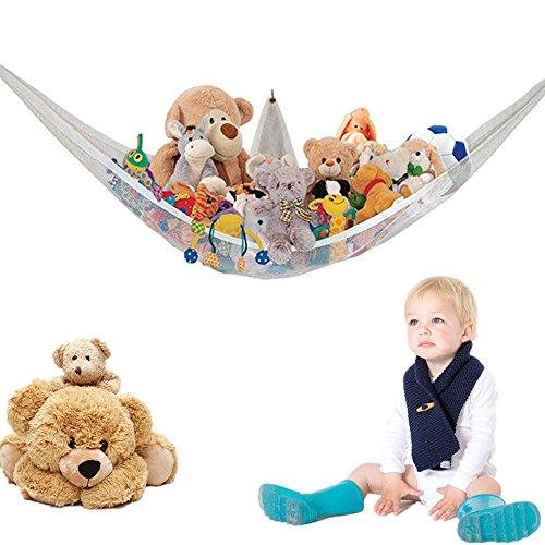 Toy Hammock Corner Soft Cuddly Toy Storage Hammock Net Organiser Teddy Keep Baby/Children's Bedroom Tidy Mesh Net Multi-Purpose Nursery Organisers for Stuffed Animals Plush Toys Dolls Balls 80*60*60cm
