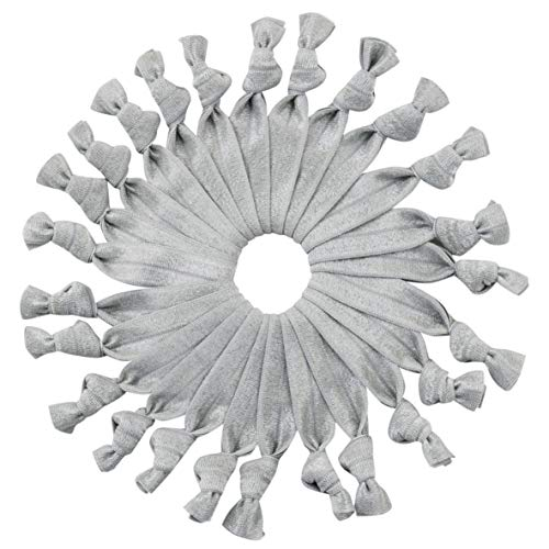 Silver Gray Bulk Hair Ties Knotted Ribbon Elastic Ponytail Holders Bracelets - 25 Count (Silver)