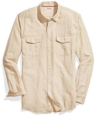 Amazon Brand - Goodthreads Men's Standard-Fit Long-Sleeve Linen and Cotton Blend Shirt, khaki, X-Large