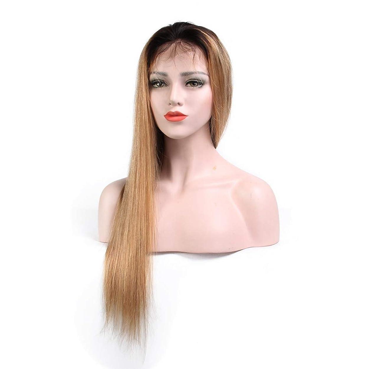 怠感蜜擬人JIANFU 100%リアルヘアストレートヘアライトブラウンウィッグヘッドギアフロントレースエアバンウィッグ (サイズ : 16 inch)