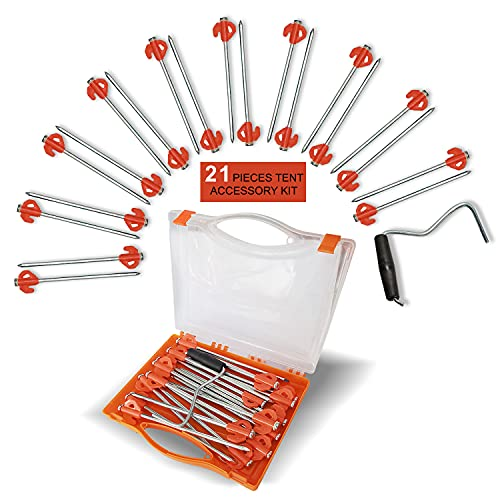 COZYVIDA Tent Stakes Galvanized Heavy-Duty Non-Rust Ground Anchors Glow Rubber Pegs Includes Stake Puller Carry Case for Backyard, Camping, Gazebo, Canopy Accessories (Orange)