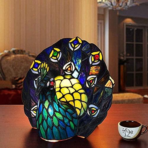 Rnwen Europa Color Creativo Vidrio Verde Pavo Real decoración pequeña lámpara de Mesa Club lámpara Dormitorio lámpara de cabecera