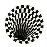 Yousir Tappeto rotondo nero bianco griglia 3D Illusione Vortice camera camera da letto antiscivolo tappeto casa per soggiorno camera da letto camera da letto studio sala da pranzo