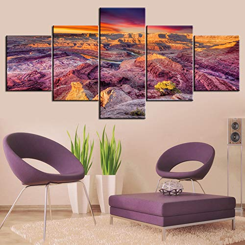 Home Decor for Living Roon Native American Pictures Dead Horse Canyon Moab Paintings 5 Panel Canvas Wall Art Modern Artwork Giclee Wooden Framed Gallery-wrapped Stretched Ready to Hang(50''Wx24''H)