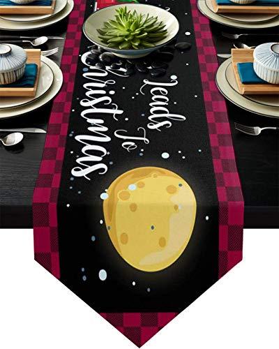 Camino de mesa de lino de algodón con borde triángulo de 33 x 180 cm, All Blessings camión de Navidad con árbol, bufandas de mesa para cenas, fiestas, banquetes de boda, color negro, rojo, cuadros