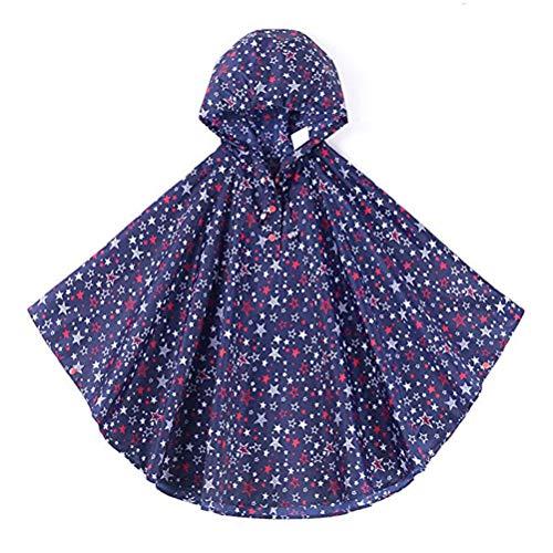 VORCOOL Filles Enfants Toddler Scolaire Sac à Dos Scolaire Ponchos de Pluie Veste Imperméables avec Capuche - Taille M (Bleu)