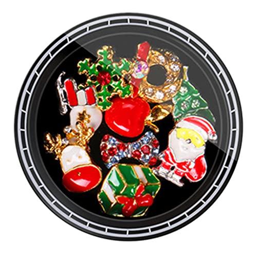 IOOOFU 1 Box Christmas Nail Rhinestones Charms Metal Studs DIY Nail Art Decor - 7#