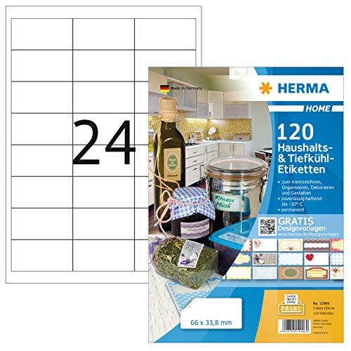 HERMA 12906 Tiefkühl-Etiketten DIN A4 (66 x 33,8 mm, 5 Blatt, Papier, matt) selbstklebend, bedruckbar, permanent haftende Haushaltsetiketten, 120 Klebeetiketten, weiß