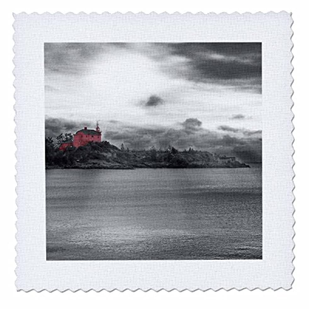 3dRose qs_19936_1 Light House 2 Red Coast Guard Station Light House Photographed on Lake Superior Quilt Square, 10 by 10-Inch