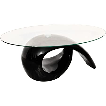 vidaXL Table Basse Creuse Fibre de Verre Noir Brillant Table dAppoint Salon