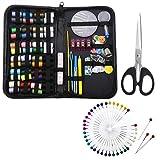 kit de herramientas de costura premium con funda de PU 30 carretes de hilo XL perfecto para viajes en casa y uso de emergencia STURME Kit de costura de 126 piezas