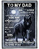 Ananas Pru Daughter to Father Blanket, to My dad from Daughter Wolf Father Moon Night Blanket White Fleece Blanket, Father Blanket, Daddy Present idea, dad Blanket, idea, Family Love Blanket