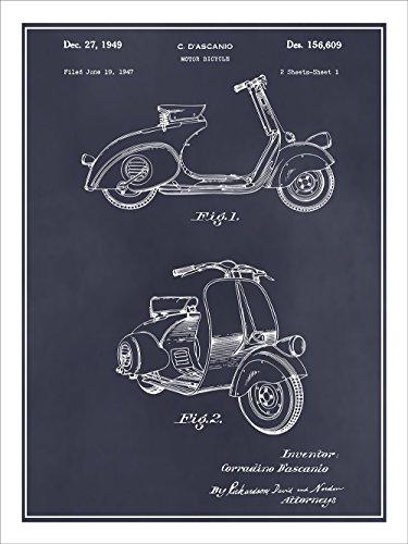 "1947 Vespa 125 Motor Scooter Patent Print Art Poster UNFRAMED Blackboard 18"" X 24"""