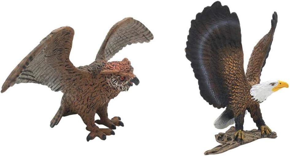 FLAMEER 2 Unids Modelos Animales Juguete Pájaro Coleccionables Figuras Animales Pájaros Miniatura - búho y águila