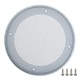 Fielect 2 Pcs 5inch /124mm Speaker Grill Mesh Decorative Circle Woofer Guard Protector Cover Audio Accessories White Metal Trim