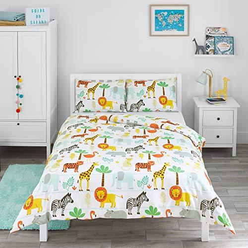 Bloomsbury Mill - Parure de Lit Enfant - Motif Aventure Safari - Animaux de la Jungle - Housse de Couette 200cm x 200cm + 2 Taies d'oreiller pour Lit Double