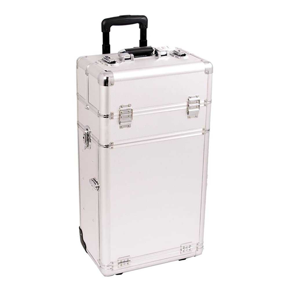 Craft Accents I3562 Dot Trolley Craft/Quilting Storage Case, Silver