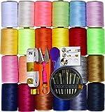 LE PAON 24 Hilo de coser de varios colores, 100% poliéster, multiusos, 1000 m cada bobina con 30 agujas de costura, cintas de medición suaves, tijeras, dedal, rosca y botones para coser a mano y a máquina