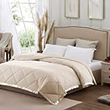 SunStyle Home Down Alternative Blanket with Satin Trim, Bedding Quilt Lightweight Comforter Soft Thin Quilted Blanket for All Seasons (Queen, Ivory)