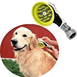 Wondurdog Outdoor Garden Hose Dog Shower Brush Head Nozzle with Splash Guard Handle and Rubber Grooming Teeth. Metal Connector and Water Pressure Control. Wash Your Pet. Don't Get Wet!