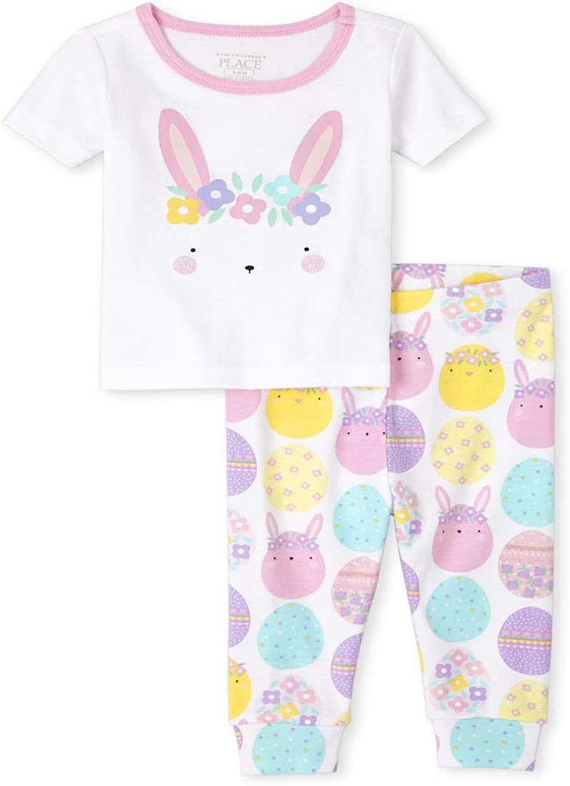 The Children's Place Baby and Toddler Girls Easter Bunny Snug Fit Cotton Pajamas