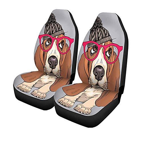 Set met 2 stoelhoezen voor autostoelen, portretvast voor pups, hoed voor autostoelen, autostoelen, universele bescherming, 14-17 inch