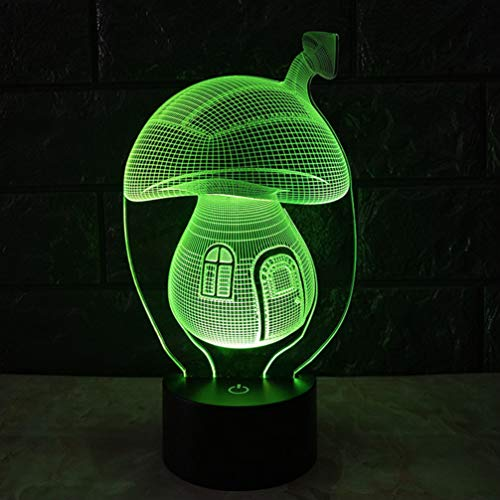 Uonlytech - Luz nocturna con diseño de seta en 3D con interruptor de partituras para fiestas y dormitorios