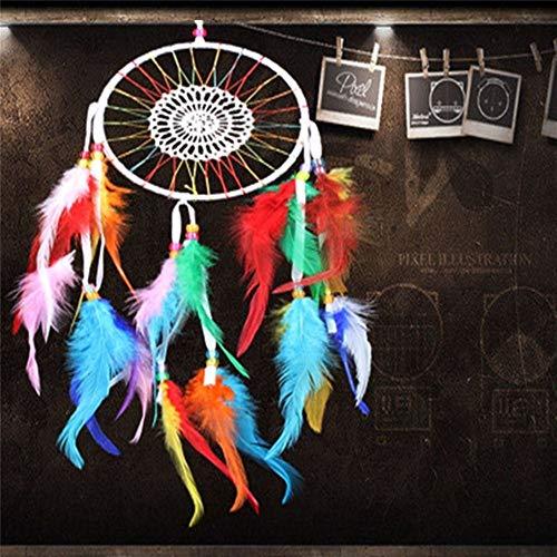 Carillons décoratifs Décoration de la Maison Vintage Plume Rêve Dream Catcher Plumes Circulaires Tenture Dream Catchers Décor pour Voiture Carillons à Vent (Color : E)