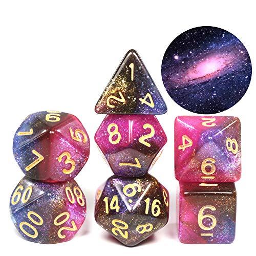 WHFDSBD Polyedrische Würfel,Andromeda Galaxie Kosmische Galaxie Konzept Würfel 7 Stück Rollenspiel Zubehör Brettspiel Würfel