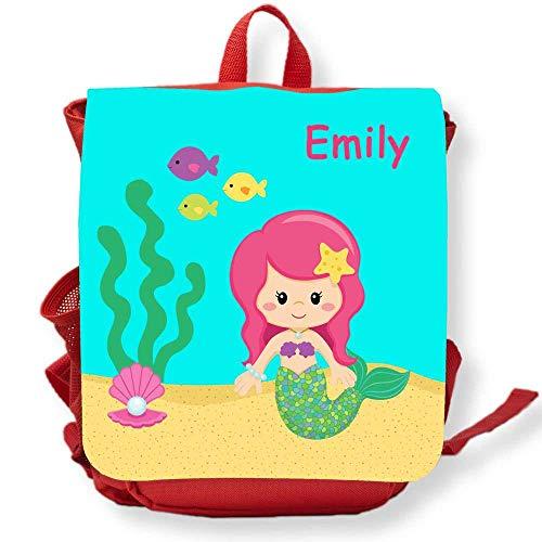 SL-Store GbR Kindergartenrucksack rot Meerjungfrau Pinke Haare mit Namen Mädchen Kleinkind Kinderrucksack für Kita Kindergarten personalisiert Name Bedruckt