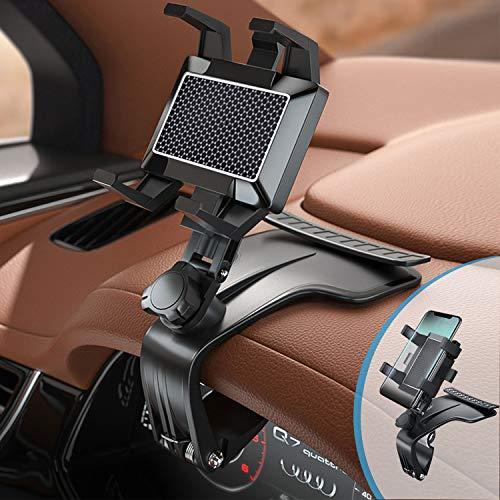 Soporte para teléfono para coche, espejo retrovisor multifunción para montaje en salpicadero de coche con clip de resorte ajustable de 360 °, adecuado para teléfonos inteligentes de 3 a 7 pulgadas