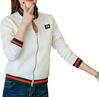 Energy Womens Pockets Leisure Zipper Stripes Fitted Stand Collar Coat Jacket