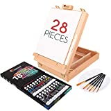 Acrylic Paint Set for Artists - with Box, Wood Easel, 18 Tubes of Acrylic Paints, 6 Paintbrushes, Blank Canvas, Spatula, and Mixing Palette - Portable Travel Kit