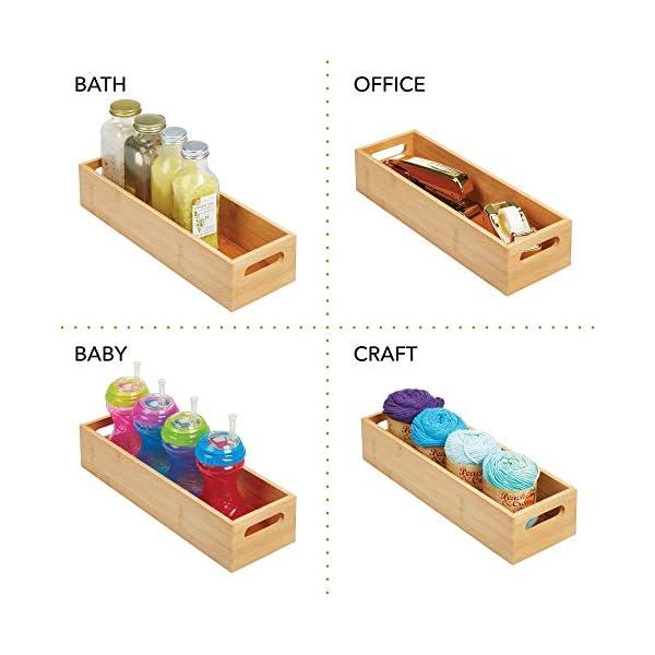 Especias Color bamb/ú Organizador de Cocina Abierto en Madera de bamb/ú nueces o Botellas Pr/áctico caj/ón de Madera para almacenar Alimentos MetroDecor mDesign Caja organizadora con Asas