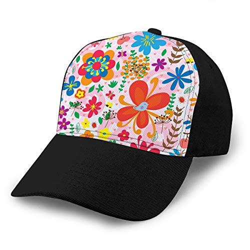Hig03j4 Gorra unisex para camionero, de algodón, ajustable, diseño de libélula, mariposa, mariquita, flor de abeja, hoja de colores, cereza, fruta, abstracto, con encanto y personalizado