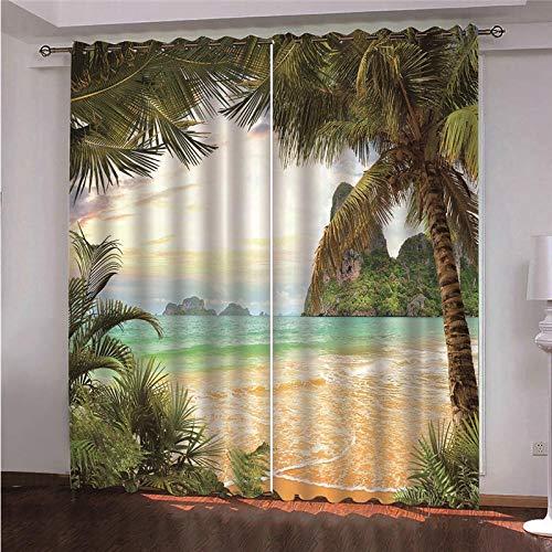 ZFSZSD Cortinas Playa y Coco Blackout Curtain Cortina Opaca Suave para Ventanas de Habitación 2x140x175cm(An x Al)