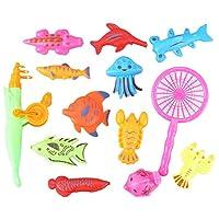 JVSISM お風呂おもちゃ釣り魚モデル磁気バスタブセット、赤ちゃん子供のギフト - 15個